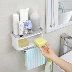 ECOCO mural Salle de bains avec stockage Shelve Boîte Towel Bar ABS + PS toiletrie Mêle stockage cuisine Porte boîte de rangement rack SH190920