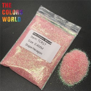 TCR17 Iridiscente Arco Iris de Color Rosa Forma Hexágono Nail Glitter Nail Art Decoración Cara Brillo Maquillaje Henna Trabajo hecho a mano Artesanía DIY