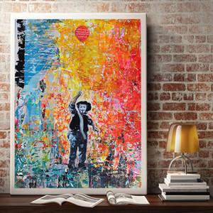 الكتابة على الجدران مجردة ملصق الحديثة شارع الفن بانكسي بالون فتاة جدار الفن قماش اللوحة لغرفة الجلوس