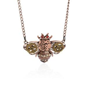 Hot Gioielli di Moda 5 Pz / lotto Steampunk rame antico ape gear Ciondolo collana collana collare maglione catena regalo gioielli delle donne A161