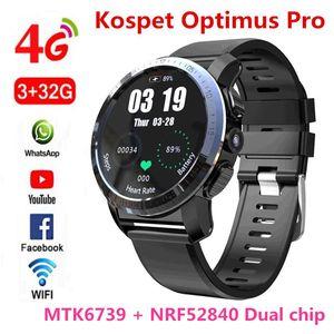 "KOSPET Optimus Pro 3 GB 32GB 800mAh Pil Çift Sistemleri 4G Akıllı İzle Telefon Su geçirmez 8.0MP 1.39"" Android7.1.1 Smartwatch Erkekler"
