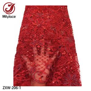 Lantejoulas Tulle alta qualidade africanos com a mão frisada Lace Francês nigeriano Lace Tecidos bordados Red Lace Tecido ZXW-206