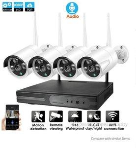 4CH CCTV Sistemi Kablosuz Ses 1080P NVR 4PCS 2.0MP IR Açık P2P Wifi IP CCTV Güvenlik Kamera Sistemi Gözetleme Seti