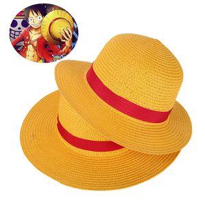 Boy Girl One Piece Cap Straw Hat Neck String Luffy Flat Hats Cosplay Japanese Cartoon Props Hat Kid Red Stripe Beach Hat YF001