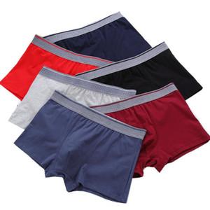 O envio gratuito de 5 Pçs / lote homens de algodão cuecas boxers calcinha dos homens respirável confortável mens underwears plus size masculino boxer