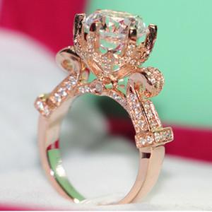 5CT Engagement Sterling Silver Ring Grande Moissanite anel de diamante Rose banhado a ouro Moissanite Jóias Super Luxo lindo anel T200701