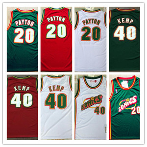 Mens 20 Gary Payton 40 Shawn Kemp Throwback Jersey-Stickerei-College-Retro Basketball-Universität trägt genähtes Jersey S-2XL Top-Qualität