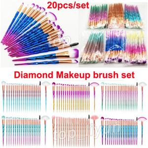 Diamant pinceaux de maquillage 20pcs Set Pinceau Poudre Kit visage et les yeux Pinceau Puff lot Fondation colorée Brosses cosmétiques Beauté par DHL