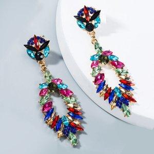 Cristal Gota New Vintage brincos para mulheres moda jóias Declaração Folha Geométrico Longo Brincos Accesorios Mujer Aretes