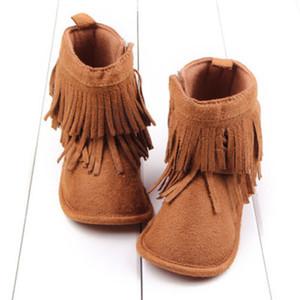 Püskül Avrupa Yenidoğan Bebek Kız Yumuşak Sole Boots Püskül Moccasin Kar Kış Bebek Kız Erkek Ayakkabı ısıtın 0-18M