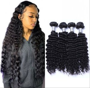 Malaysian Virgin Hair Deep Wave Bundles Unprocessed Human Hair Weft 4 Bundles Curly Hair Weft for Women