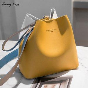 Tonny Kizz 2018 Women's Handbags Famous Fashion Brand Candy Shoulder Bags Ladies Simple Trapeze Women Messenger Panelled Bag V191028