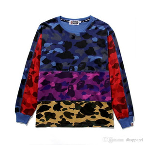 Comercio al por mayor Otoño Invierno Adolescente Camo Costura Casual Cuello redondo Suéter Sudaderas con capucha de los hombres Pullover Casual Hip Hop suelto