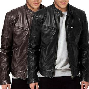 Herren Lammfell-Lederjacke BLACK BROWN Neuer Mann-Winter-warme nehmen passende Biker-Jacken-Mantel