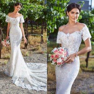 2020 꽃 공주 결혼식 Dresse 환상 보석 Appliqued 레이스 코트 기차 웨딩 드레스 등이없는 맞춤 제작 얇은 명주 그물 웨딩 드레스
