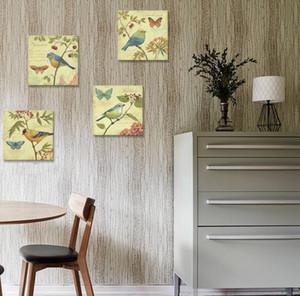 자연 예술 - 새와 꽃 그림 4 개 벽 예술 Lanscape Painting Print on Canvas 벽 장식 포장