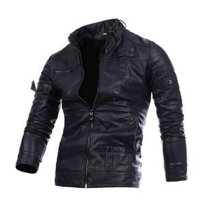 Mans Leather Jacket Zipper abbigliamento in pelle casual cuoio dell'unità di elaborazione del cappotto indumenti larghi con 3 colori Asiatica Misura M-3XL