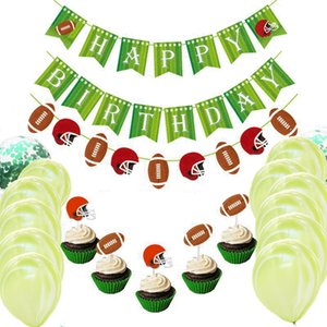 Rugby American Football Banner Flag Birthday Sports Event Back to School Party Cupcake Decor Topper Supplies