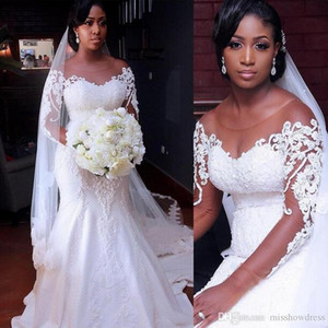 Full Lace Mermaid Wedding Dresses 2020 African Sheer Long Sleeves Tulle Applique Sweep Train Sweep Train Wedding Bridal Gowns With Buttons