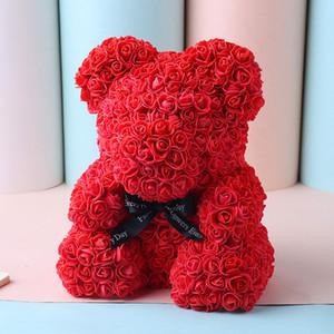 Heißer Verkaufs-40cm Bear of Roses Künstliche Blumen Startseite Hochzeit Festival DIY Günstige Hochzeitsdekoration-bestes Geschenk für Weihnachten Valentine amazzz