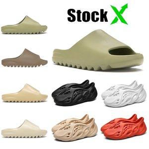 2020 Childrens crianças Luxo Chinelos Mens Womens Kanye West Slides interior do desenhador de moda Sapatos Foam Runner Sandals óssea Terra Brown Slipper