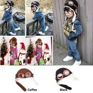 Bebek Çocuk Pilot Kış kulaklığı Kış Peluş Noel Partisi Şapkalar Hediyeleri 2Colors PX-H14 ile Çocuk Erkekler Kızlar Gözlük Pamuk Beanie Şapka Isınma Caps