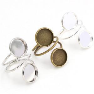 12mm 5pcs 3 Farben überzog Messing justierbare Ring-Einstellungen Blank / Basis, Fit 12mm GlasCabochons, Knöpfe; Ring Bezels