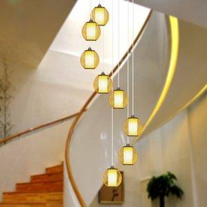 تخصيص الصينية مزدوجة الغزل الدرج الثريا طويلة فيلا بسيطة السقيفة العلية اختيار عالية الخيزران مصباح غرفة المعيشة
