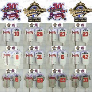 Atlanta 1995 WS Jersey Bobby Cox Javy López Chipper Jones David Justice John Smoltz Greg Maddux 31 Tom Glavine John Rocker