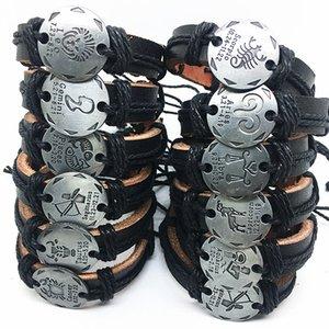24pcs / lot Mix 12 constelaciones de pulseras de cuero hechas a mano Gemelos para Hombres Mujeres brazaletes pulseras de marca al por mayor dropshipping nuevo