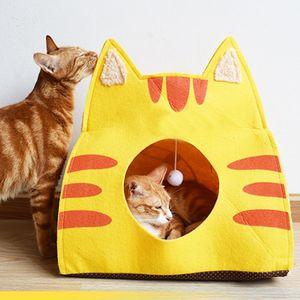 Pet Cat Caverna Felt Cat House desenhos animados Gatinho Mat Almofada Quente Kitten Pet Sleeping Bag Início Gato bonito por quatro temporadas