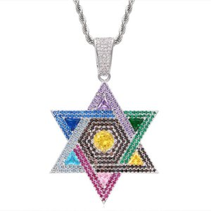 Sparking Bling Bling Colorful Rainbow CZ Star Pendant Necklace For Women Gorgeous Christmas Gift Jewelry