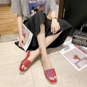 Siyah Kırmızı Düz Terlik Kadınlar Parlak Açık Burun Slaytlar Yaz Yumuşak Sole Terlik Kadınlar Açık Parlak Slaytlar 2020