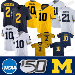NCAA Michigan Wolverines Jersey 10 Desmond Howard Tom Brady Charles Woodson Shea Patterson College Football Jersey