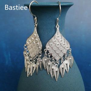 Bastiee 999 Sterling gümüş Peacock Feather Küpe İçin Kadınlar Bırak Püsküller Büyük Küpe Hmong Vintage El Yapımı Takı