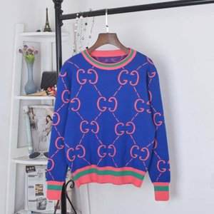 2020 новая осень зима о-образным вырезом с длинным рукавом логотип письмо печать мода вязаный цвет блока теплый утолщение свитер с длинным рукавом топы пуловер