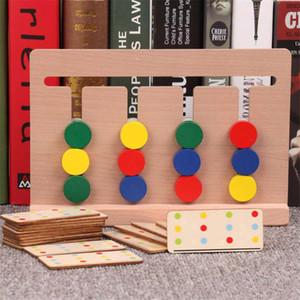 brinquedos crianças Montessori de ensino Jogo de quatro cores vermelho, verde redondo azul pensamento lógico Treinamento crianças brinquedos de madeira