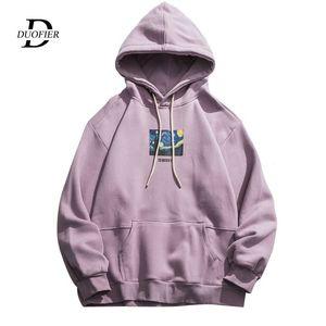 DUOFIER Mode-Druck-Fleece Pullover Sweatshirts Street Männer Hip Hop Pullover Kapuzen-Tops Male Harajuku Jumper 2020 New T200422