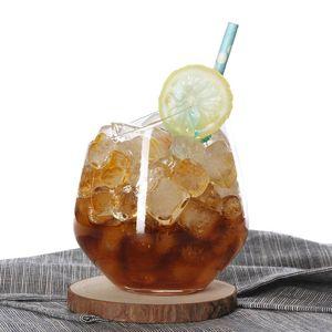 Creative Glass Slant Muse Cups Tiramisu Cups Personality Einfache Juice Cup Bleifreies Dessert Kaltes Getränk Cup Weinglas CCA11817-A 12st