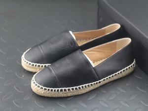 All Black Designer Scarpe Casual Pantofole Morbida Paglia tessitura Espadrillas fannullone Cap in pelle Toe Canvas Chaussures Luxury Ladies Slip On