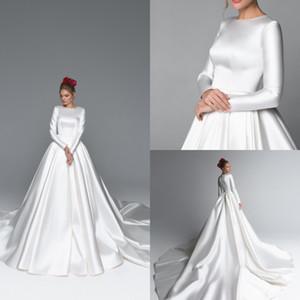 Satin Eva Lendel Скромные свадебные платья Jewel Neck A Line Sweep Поезд с длинным рукавом Boho Свадебное платье на заказ богемные свадебные платья