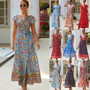 2020 Summer leisure hot-selling holiday printing sexy jumpsuit dress Printed dress seaside vacation beach long skirt women