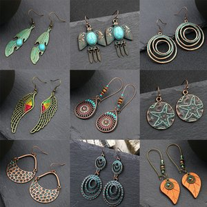 Hot Selling Vintage Classic Alloy Dangle Earrings for Women Girl Gift Geometric Round Circle Leaf Water Drop Accessories Jewelry