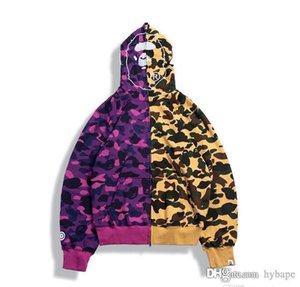 Personalidad de la manera de Hip Rojo Amarillo Camo empalme por mayor Hombres Mujeres amarillo púrpura Camo costura suéter de la chaqueta de los hombres de Hip sudaderas