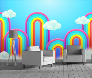 Bacal Nordic modern rainbow white cloud background wall papier peint papel de parede 3D wallpaper 3d wall paper mural stickers