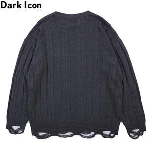 Fashion-Dark Icon Twist Tassels Hemline High Street Fashion Sweaters Hombres Cuello redondo Jersey de color sólido Suéter para hombres