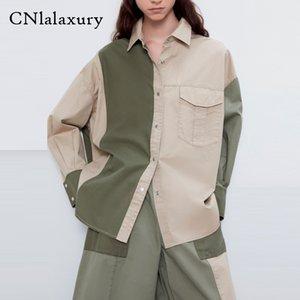 CNLALAXURY Vintage Indie-Folk Farbe Kollision Bluse Frauen blusas mujer de moda 2020 loses Hemd Frauen Tops feminina plus size