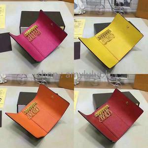 Wholesale top quality multicolor leather key holder short designer six key wallet for women classic zipper pocket men design key chain