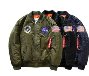 New NASA Flight Pilot Mens Stylist Jackets 19ss MA1 Bomber Jacket Windbreaker Embroidery Baseball Military Section Mens Jacket M-XXXL