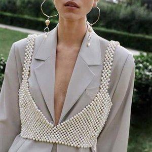 M MISM 2020 New Fashion Tricoté Perles Crop Top Femmes exquis Sexy extérieur Hauts perlage réservoir Camisoles Vadim Vêtements Streetwear